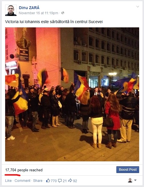 Dinu Zară pe Facebook: Victoria lui Iohannis sărbătorită la Suceava