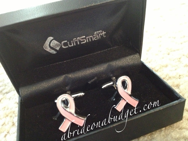 pink ribbon cuff links