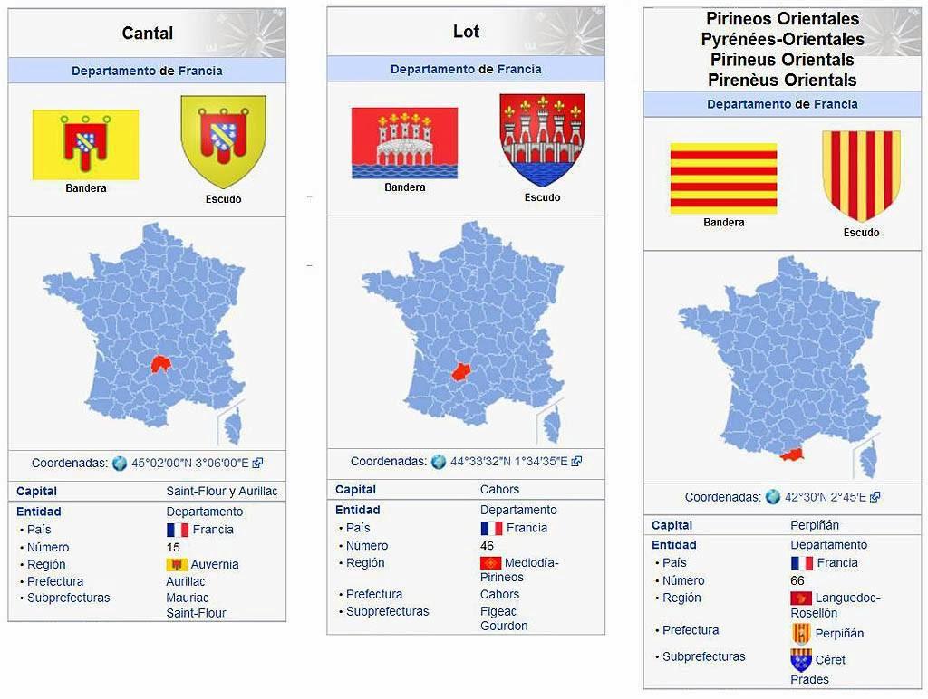 Datos básicos de los departamentos franceses donde está localizado el apellido Clamagirand.