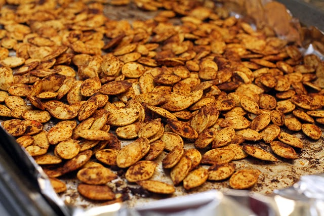 Roasted chili lime pumpkin seeds from dontmissdairy.com