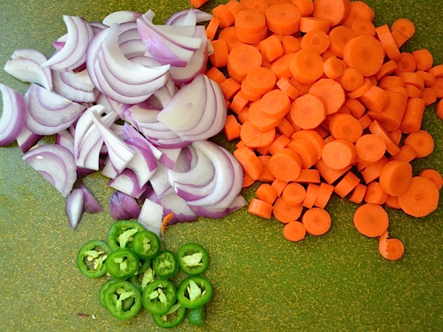 Chopped onions, carrots and jalapeno
