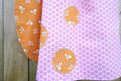 Made with Moxie:Roly-Poly Pinafore pattern review. Pink polka dot fabric side.