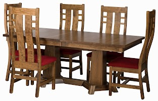 Turin Dining Table in Tudor Hickory and Seneca Dining Chairs in Iconic Maple