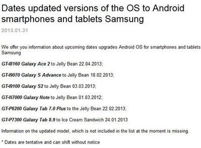 Samsung android Güncelleme