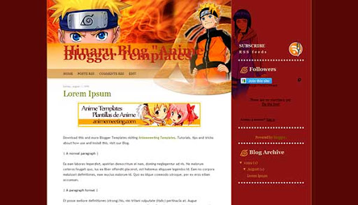 'Anime Plantilla Blogger' Hinaru Blog Template