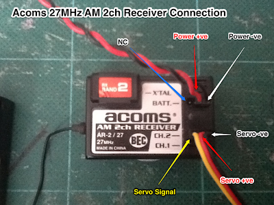 Acoms 27MHz AM 2ch Receiver Connections