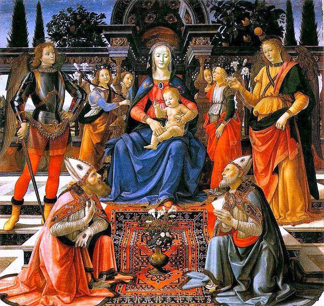 Domenico Ghirlandaio - Madonna and Child enthroned with Saint.