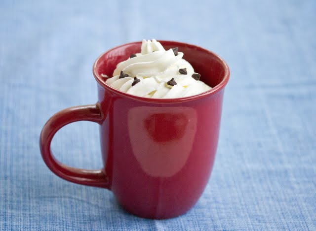 Java Chip Mug Cake topped with whipped cream