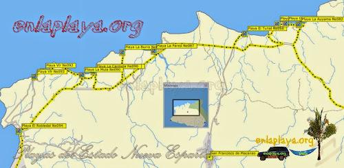 Mapa de Playas del sector Macanao