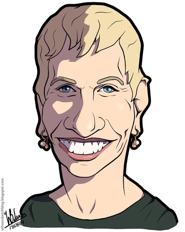 Cartoon caricature of Barbara Corcoran.
