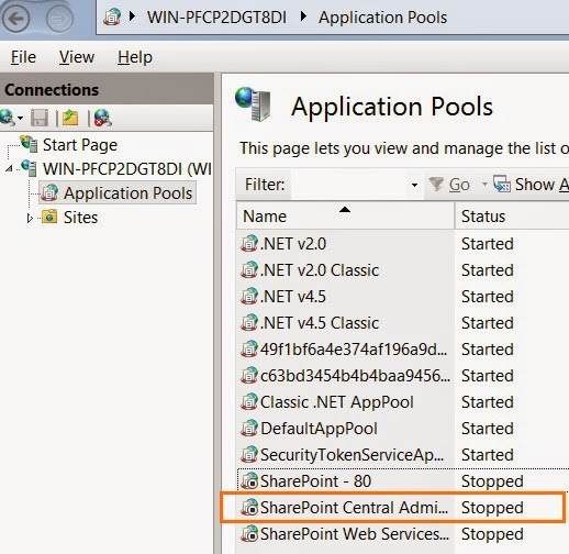 SharePoint 2013 error HTTP Error 503  The service is