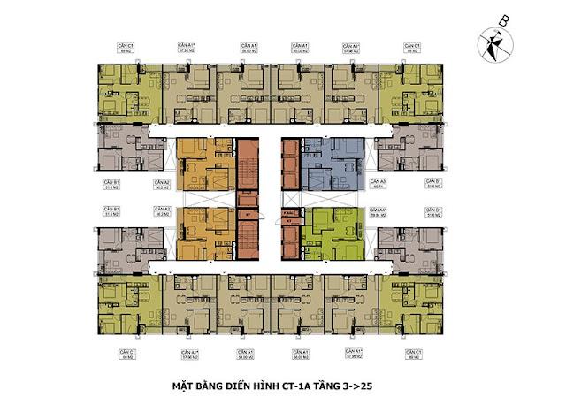 Mặt bằng tầng căn hộ tòa CT1A