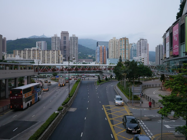 elevated walkway crossing over a road in Tsuen Wan, Hong Kong