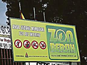 Papan tanda Zon Bersih