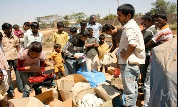 Volunteers distributing Clothes