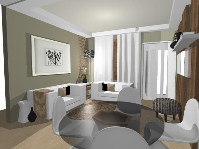 decoracao de sala em apartamento pequeno:Segunda Opção da sala com mesa redonda e cadeiras panton.
