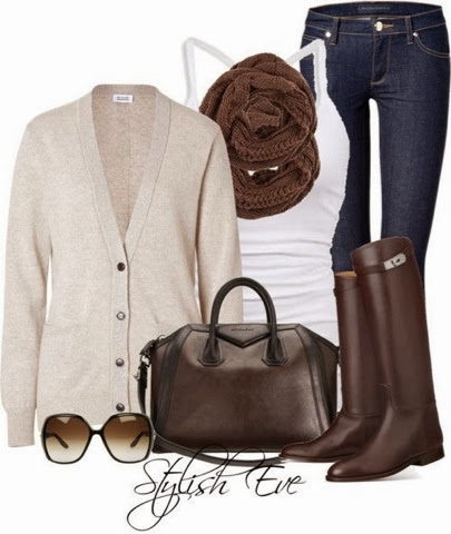 Stylish cardigan, tan scarf, white blouse, jeans, tang long boots and handbag for fall
