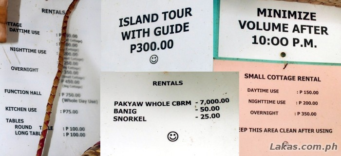 Divinubo Island Fees/Rates