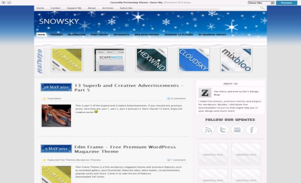 Free Blue Gray Snow WordPress Theme