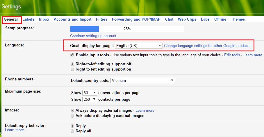 Cách thay đổi ngôn ngữ trong gmail đơn giản nhất 2