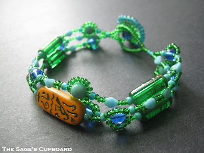 Orange and Green Hieroglyph Bracelet