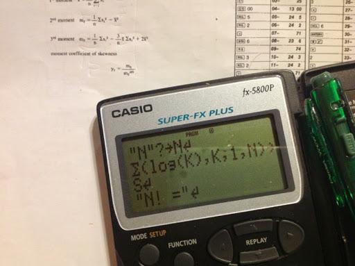 Eddie's Math and Calculator Blog: fx-5800p: Large Factorials, Length