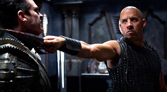 Riddick threatening Vaako Karl Urban