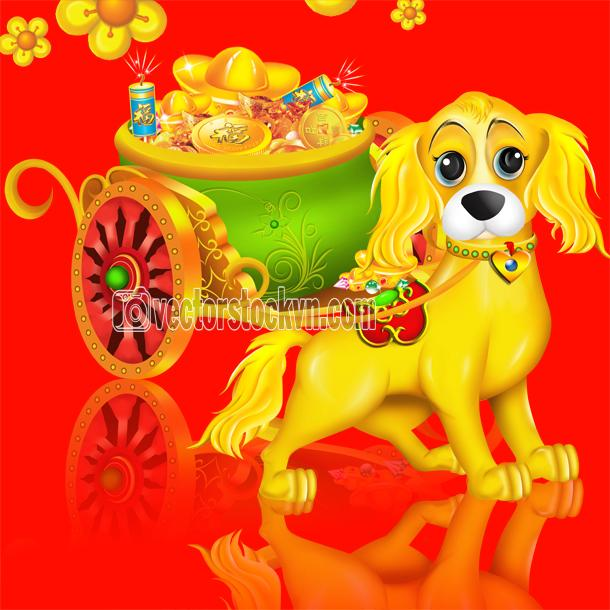Dog, Chinese zodiac symbol of 2018 year, isolated on white background.