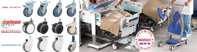 Bánh xe giường bệnh y tế Colson phi 125 có khóa | CPT-5854-85BRK4