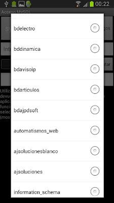 Aplicación Android AjpdSoft Acceso MySQL en funcionamiento