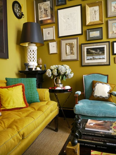 Mad woman 39 s to do list chase those pastels away with for Mustard living room ideas