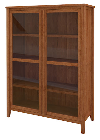Florence Glass Door Bookshelf in Itasca Maple