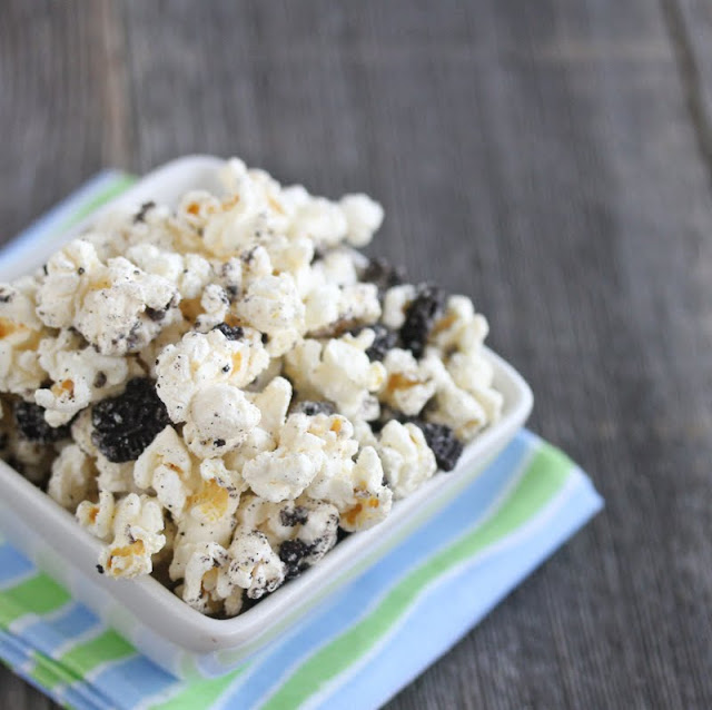 overhead photo of Cookies and Cream Popcorn