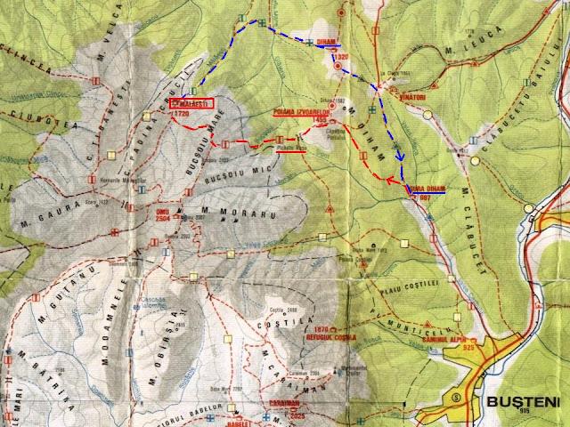 Harta Bucegi - fragment traseu Gura Diham - Poiana Izvoarelor - Pichetul Rosu - La Prepeleac - Malaiesti - Diham