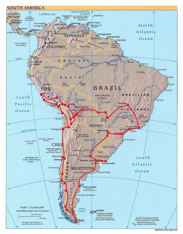 Карта маршрута по южной америке