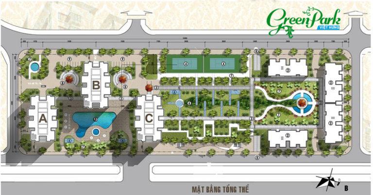 Mặt bằng tổng thể chung cư Việt Hưng Green Park