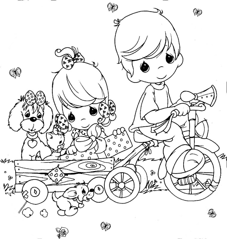 precious moments coloring pages - kids in a tricycle free precious moments coloring pages