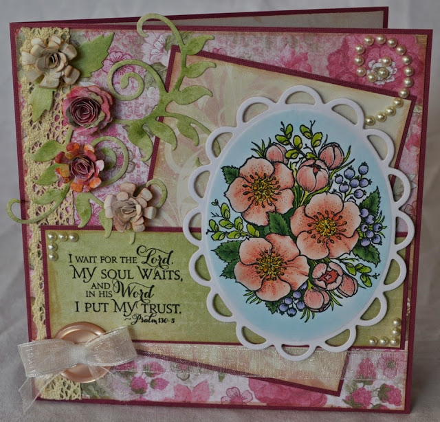 Elizabeth Whisson, Flourishes, Winter Blossoms, Our Daily Bread Designs, Pslam 130:5, handmade card, Spellbinders, Bitty Blossoms, Lacey Ovals, Foliage Two, Scripture Collection 9, Distress Markers, Copic, copic markers, copic sketch
