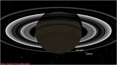 Simulation of Cassini probe's Pale Blue Dot image
