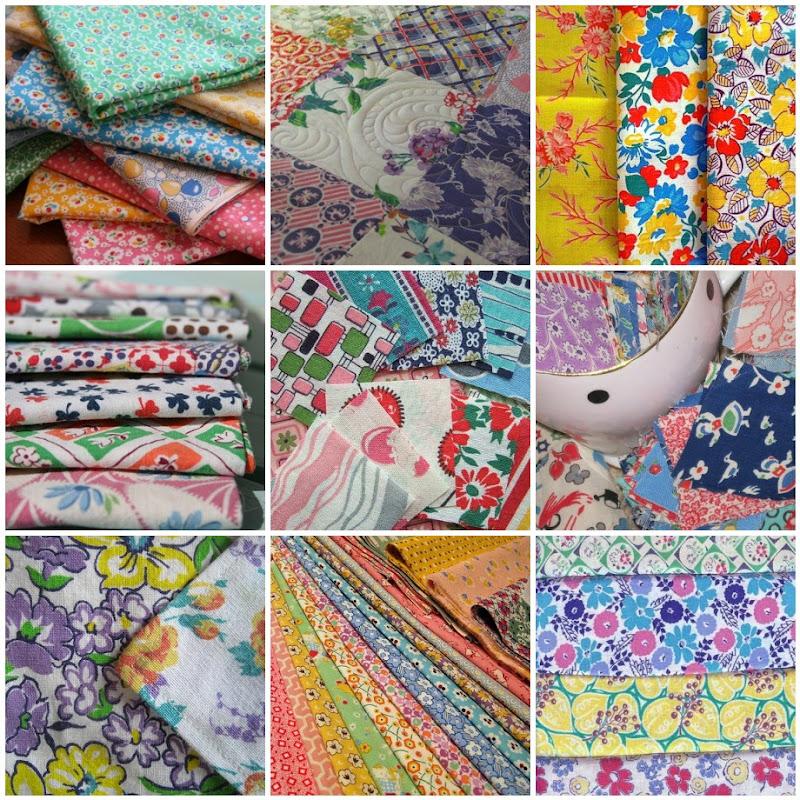 Vintage Feedsack Pattern Photo Collage