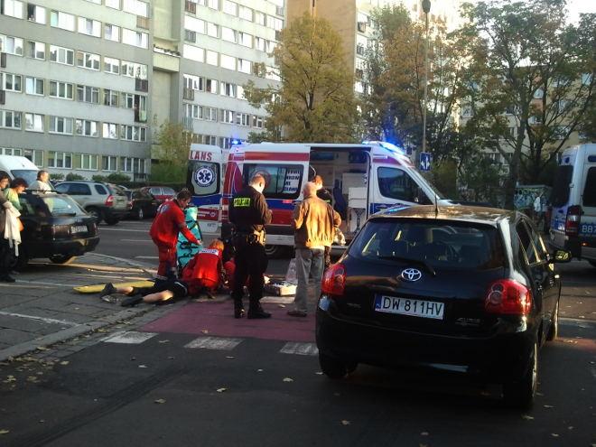 wypadek z udziałem roweru Wrocław Zielonogórska Zachodnia