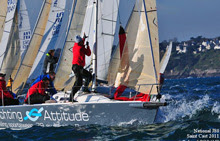 J80 sailboat- rounding mark at French Nationals, Saint Cast, France
