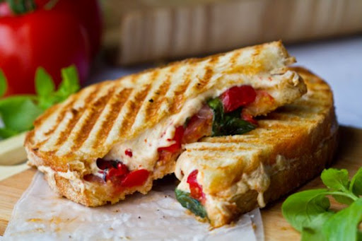 First I did an amazing Pepperjack Panini with fresh basil and tomato ...