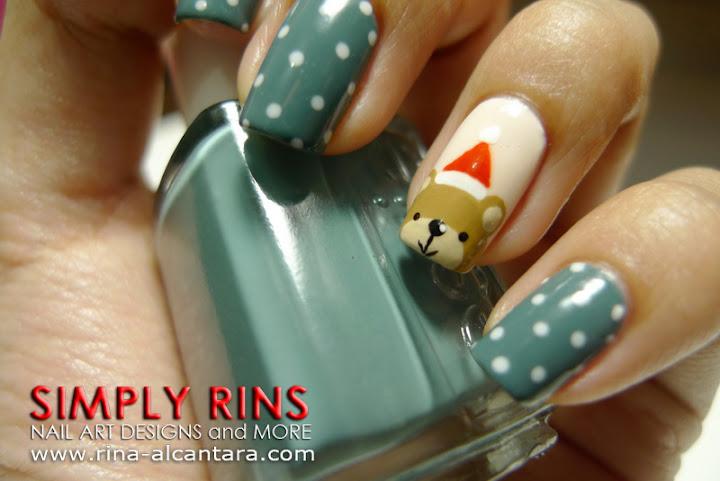 Santa Bear Nail Art Design