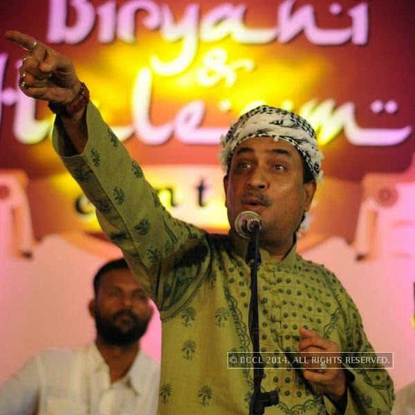 Munawwar Masoom during the grand finale of the Times Biryani and Haleem Contest, held in Hyderabad.