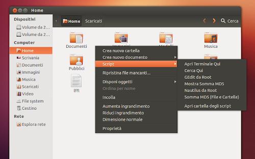 Nautilus-Scripts ZeroPack su Ubuntu