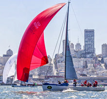 J/125 Double Trouble sailing off San Francisco- Big Boat Series