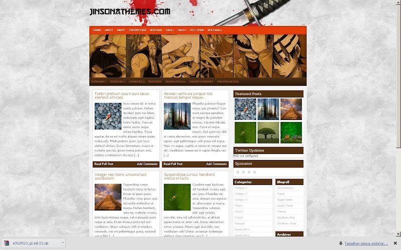 Tema WordPress 'Katana' yang menjadi inspirasi web GowesJelajah.web.id