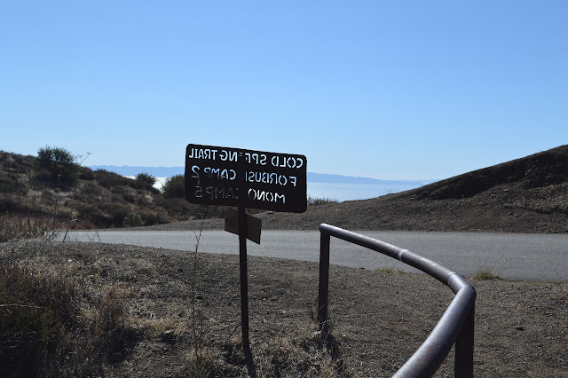 back of the sign at the top of Cold Spring Trail