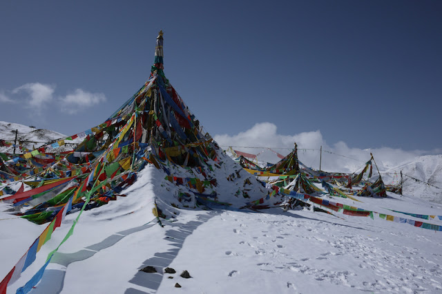 Tibetan prayer flags in Qinghai, China